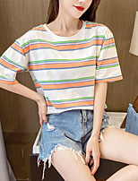 cheap -Women's Tee / T-shirt Stripe Crew Neck Stripes Sport Athleisure Top Short Sleeves Breathable Soft Comfortable Everyday Use Casual Daily Outdoor