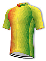cheap -21Grams Men's Short Sleeve Cycling Jersey Spandex Yellow Gradient Bike Top Mountain Bike MTB Road Bike Cycling Breathable Quick Dry Sports Clothing Apparel / Athleisure