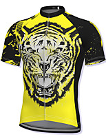 cheap -21Grams Men's Short Sleeve Cycling Jersey Yellow Tiger Bike Top Mountain Bike MTB Road Bike Cycling Breathable Quick Dry Sports Clothing Apparel / Athleisure