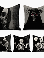 cheap -5 pcs Linen Pillow Cover, Halloween Square Zipper Polyester Traditional Classic