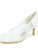 cheap -Women's Wedding Shoes Kitten Heel Round Toe Wedding Pumps Lace Floral White Black Pink