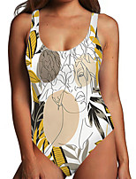 cheap -Women's One Piece Monokini Swimsuit Tummy Control Print Tropical Yellow Swimwear Bodysuit Strap Bathing Suits New Fashion Sexy