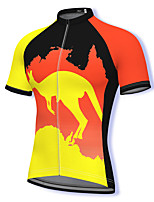 cheap -21Grams Men's Short Sleeve Cycling Jersey Mesh Spandex Yellow Bike Top Mountain Bike MTB Road Bike Cycling Breathable Quick Dry Sports Clothing Apparel / Athleisure