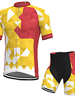 cheap -Men's Short Sleeve Cycling Jersey with Shorts Spandex Red / Yellow Bike Breathable Quick Dry Sports Geometic Mountain Bike MTB Road Bike Cycling Clothing Apparel / Stretchy / Athletic / Athleisure