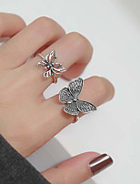 cheap -Ring Vintage Style Black Silver Alloy Butterfly Simple Vintage Korean 1pc Adjustable / Women's / Couple's / Open Cuff Ring