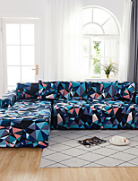 cheap -Sofa Cover The Geometric Colourful Print Dustproof Stretch Super Soft Fabric L Shape Sofa (You will Get 1 Throw Pillow Case as free Gift)