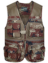 cheap -Men's Hiking Vest / Gilet Fishing Vest Military Tactical Vest Sleeveless Vest / Gilet Jacket Top Outdoor Quick Dry Lightweight Breathable Sweat wicking Spring Summer Cotton Camo Camouflage Green