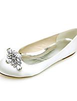 cheap -Women's Wedding Shoes Flat Heel Round Toe Wedding Flats Satin Rhinestone Solid Colored White Purple Red