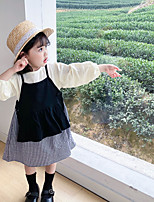 cheap -girls' dress spring and autumn 2020 korean children's clothing baby girl lace-up vest lattice long-sleeved doll skirt two-piece