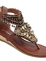 cheap -Women's Sandals Boho Bohemia Beach Wedge Heel Open Toe Wedge Sandals Classic Daily PU Color Block Black Brown