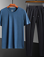 cheap -Men's Hiking Tee shirt with Shorts Short Sleeve Crew Neck Clothing Suit Outdoor Quick Dry Lightweight Breathable Soft Autumn / Fall Spring Summer Chinlon Spandex Solid Color White Black Blue Fishing