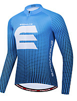 cheap -Men's Long Sleeve Cycling Jersey Blue Bike Jersey Sports Clothing Apparel / Micro-elastic / Athleisure
