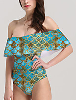 cheap -Women's New Vacation Sexy Monokini Swimsuit Color Block Geometric Tummy Control Ruffle Print Bodysuit Normal Off Shoulder Swimwear Bathing Suits Blue / One Piece / Party