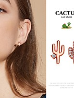 cheap -Women's Cubic Zirconia Mismatch Earrings Classic Cactus Simple European Cute Imitation Diamond Earrings Jewelry Rose Gold For Party Evening Street Date Vacation Festival