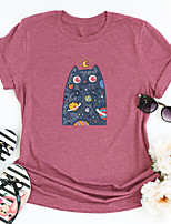 cheap -Women's T shirt Galaxy Cat Graphic Print Round Neck Tops Basic Basic Top Black Blue Blushing Pink