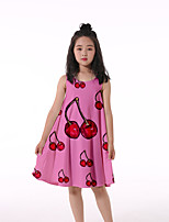 cheap -Kids Little Girls' Dress Cherry Fruit Print Blushing Pink Knee-length Sleeveless Flower Active Dresses Regular Fit 5-12 Years