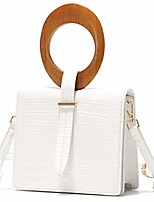 cheap -clutch purses for women small crossbody handbag with oval wooden top-handle (white)