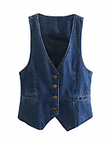 cheap -Women's Coats & Jackets Solid Color Basic Jackets Fall Vest Regular Causal Sleeveless Denim Coat Tops