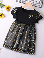 cheap -Kids Toddler Little Girls' Dress Black Galaxy Solid Colored Letter Causal Mesh Patchwork Bow Black Above Knee Short Sleeve Regular Basic Cute Dresses Children's Day Summer Regular Fit 3-8 Years