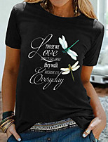 cheap -Women's T shirt Graphic Text Print Round Neck Tops Basic Basic Top Black