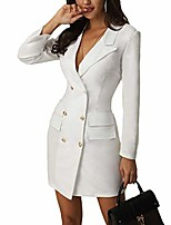 cheap -women's blazers coat v-neck bodycon double breasted long sleeve office ol jacket dress (white, l)