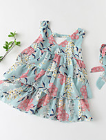 cheap -Kids Little Girls' Dress Floral Graphic Ruffle Print Green Sleeveless Basic Cute Dresses Regular Fit