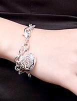 cheap -Women's Bracelet Pendant Bracelet Cut Out Heart Fashion Copper Bracelet Jewelry Silver For Christmas Party Wedding Daily Work / Silver Plated