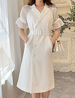 cheap -A-Line Elegant Vintage Homecoming Cocktail Party Dress Shirt Collar Half Sleeve Tea Length Stretch Fabric with Sash / Ribbon 2021
