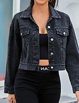 cheap -Women's Solid Colored Basic Spring &  Fall Denim Jacket Regular Daily Long Sleeve Cotton Coat Tops Black