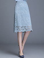 cheap -Women's Office / Career Date Elegant Vintage Skirts Solid Colored Embroidered Lace Trims Black Blue