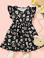cheap -Kids Toddler Little Girls' Dress Daisy Floral Print Black Knee-length Short Sleeve Flower Active Dresses Summer Regular Fit 2-6 Years