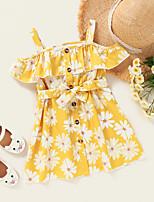 cheap -Kids Toddler Little Girls' Dress Daisy Graphic Print Yellow Knee-length Sleeveless Active Dresses Summer Regular Fit 2-8 Years