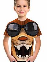 cheap -Kids Boys' T shirt Short Sleeve Dog Animal Daily Wear Print Children Summer Tops Active Regular Fit Brown 4-12 Years