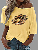 cheap -Women's Christmas T shirt Graphic Leopard Mouth Print Round Neck Diagonal Neck Tops Beach Hawaiian Basic Top White Blue Yellow