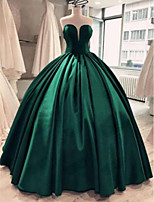 cheap -Ball Gown Minimalist Sexy Quinceanera Prom Dress V Neck Sleeveless Floor Length Satin with Sleek Pleats 2021