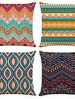 cheap -4 pcs Linen Pillow Cover, Geometric Simple Boho Square Traditional Classic