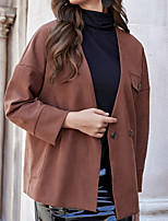 cheap -Women's Solid Colored Spring &  Fall Jacket Regular Daily Long Sleeve Polyster Coat Tops Camel