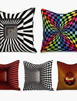 cheap -5 pcs Linen Pillow Cover, Geometric Square Zipper Polyester Traditional Classic