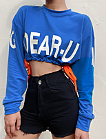cheap -Women's Sweatshirt Crop Top Pullover Crop Top Crew Neck Letter Printed Sport Athleisure Sweatshirt Top Long Sleeve Breathable Soft Comfortable Everyday Use Street Casual Daily Outdoor