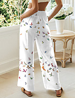 cheap -Women's Basic Chino Comfort Casual Going out Pants Pants Butterfly Graphic Prints Short Elastic Drawstring Design Print White Black Blue Beige