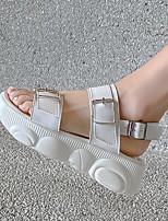 cheap -Women's Sandals Platform Open Toe Microfiber Buckle Solid Colored White Black
