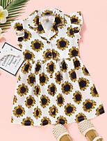 cheap -Kids Toddler Little Girls' Dress Graphic Print Yellow Knee-length Sleeveless Active Dresses Summer Regular Fit 2-8 Years