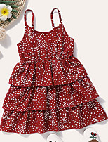 cheap -Kids Toddler Little Girls' Dress Polka Dot Print Red Knee-length Sleeveless Active Dresses Summer Regular Fit 2-8 Years