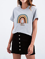 cheap -Women's T shirt Rainbow Graphic Letter Print Round Neck Tops Cotton Basic Basic Top White Black Purple