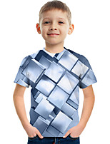 cheap -Kids Boys' Tee Short Sleeve Graphic Children Tops Active Silver 3-12 Years
