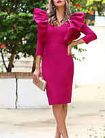 cheap -Sheath / Column Minimalist Elegant Homecoming Cocktail Party Dress V Neck 3/4 Length Sleeve Knee Length Stretch Fabric with Ruffles 2021