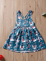 cheap -Kids Little Girls' Dress Floral Print Blue Knee-length Long Sleeve Active Dresses Summer Regular Fit 2-6 Years