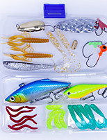 cheap -33 pcs Lure kit Fishing Lures Hard Bait Soft Bait Spoons Vibration / VIB Metal Bait Jig Head Craws / Shrimp Floating Sinking Fast Sinking Bass Trout Pike Sea Fishing Bait Casting Freshwater Fishing