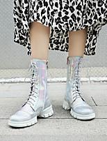 cheap -Women's Boots Chunky Heel Round Toe PU Synthetics Black Silver