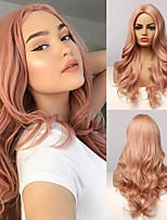 cheap -Synthetic Wig Deep Wave Asymmetrical Middle Part Wig 24 inch Rose Gold Synthetic Hair Women's Fashionable Design Party Fashion Blonde Rose Pink